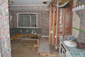 Formerly a bathroom, this will become a new kitchen in our quarters.  By having a separate kitchen from the Inn kitchen we can now present late afternoon wine, cheese and appetizer tastings.