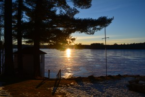 We were treated to a beautiful winter sunset over the frozen lake.