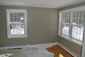 After - the new Sebago Lake room overlooking the snow covered lawn.