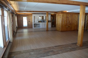 The new grand room at the Wolf Cove Inn with the new floor and ceiling!