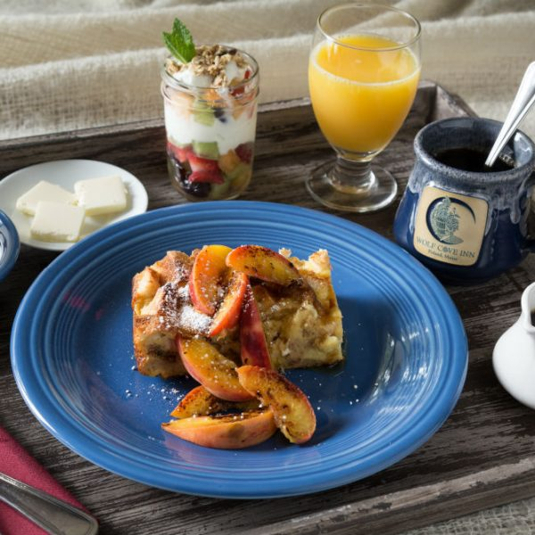 Peach cobbler breakfast in bed with muffin and yogurt