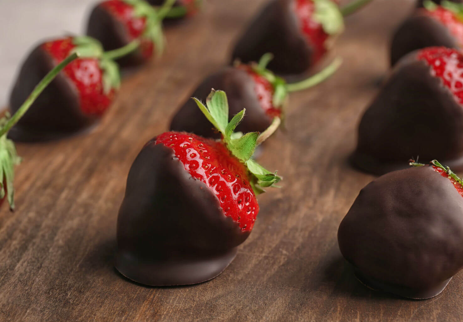 Rows of chocolate-covered strawberries
