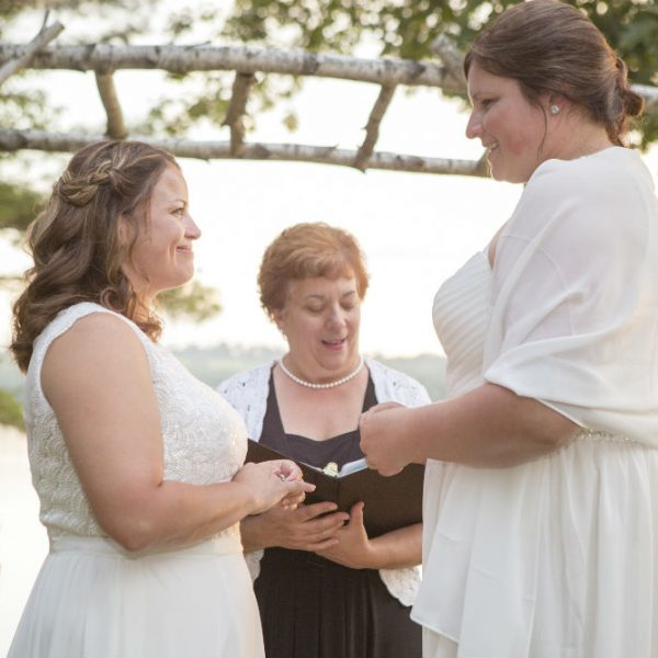 Two lesbian brides exchanging vows