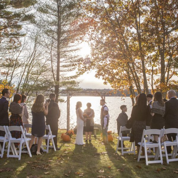 Small wedding party standing at wedding at sunset in a copse of fall trees