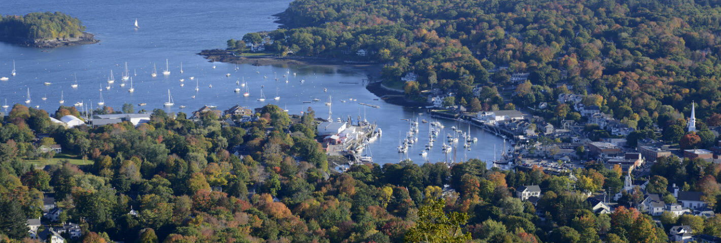 A top-down view of Camden Harbor in the early fall