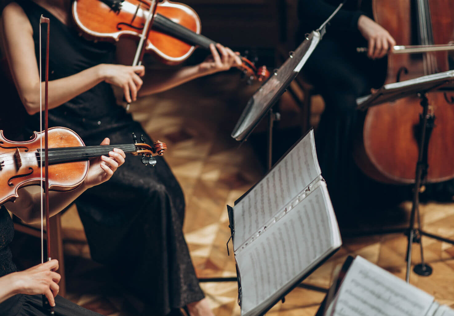 Professional musicians playing violins in an orchestra
