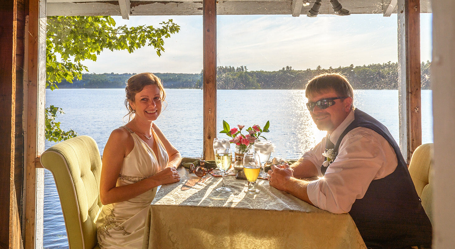 Elopement couple enjoying the Ultimate Romance Dinner in our Boathouse Bistro