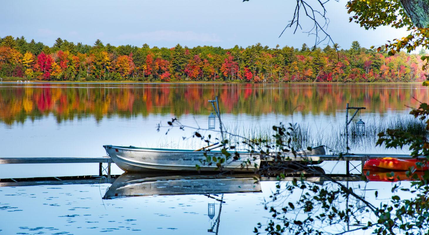 Rowboat on Tripp Lake in Foliage Season