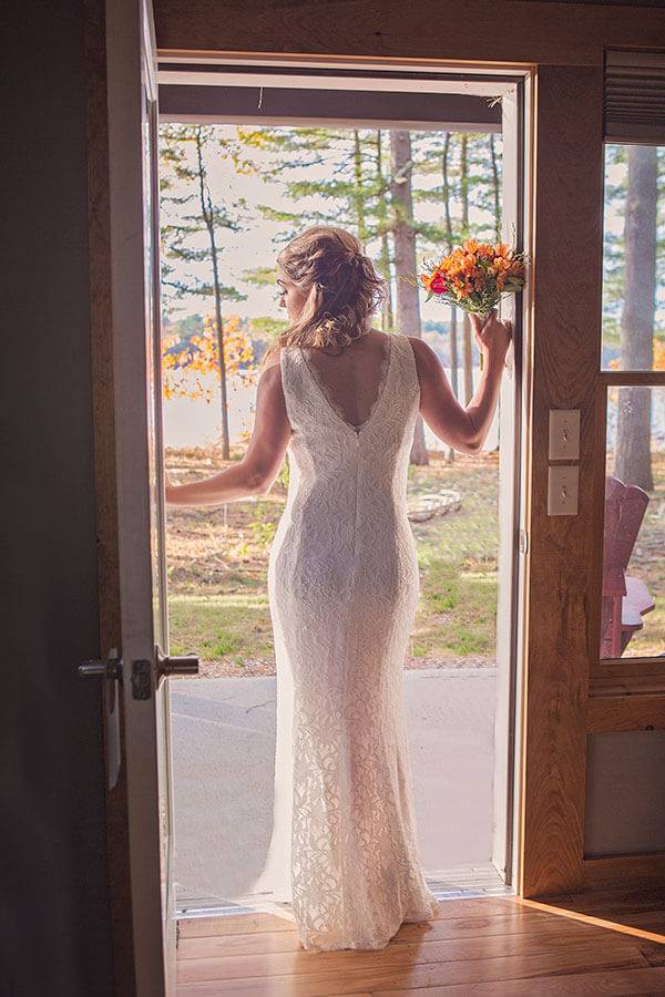 Bride in Cabin overlooking foliage