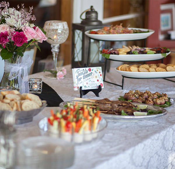 Food at an intimate wedding reception