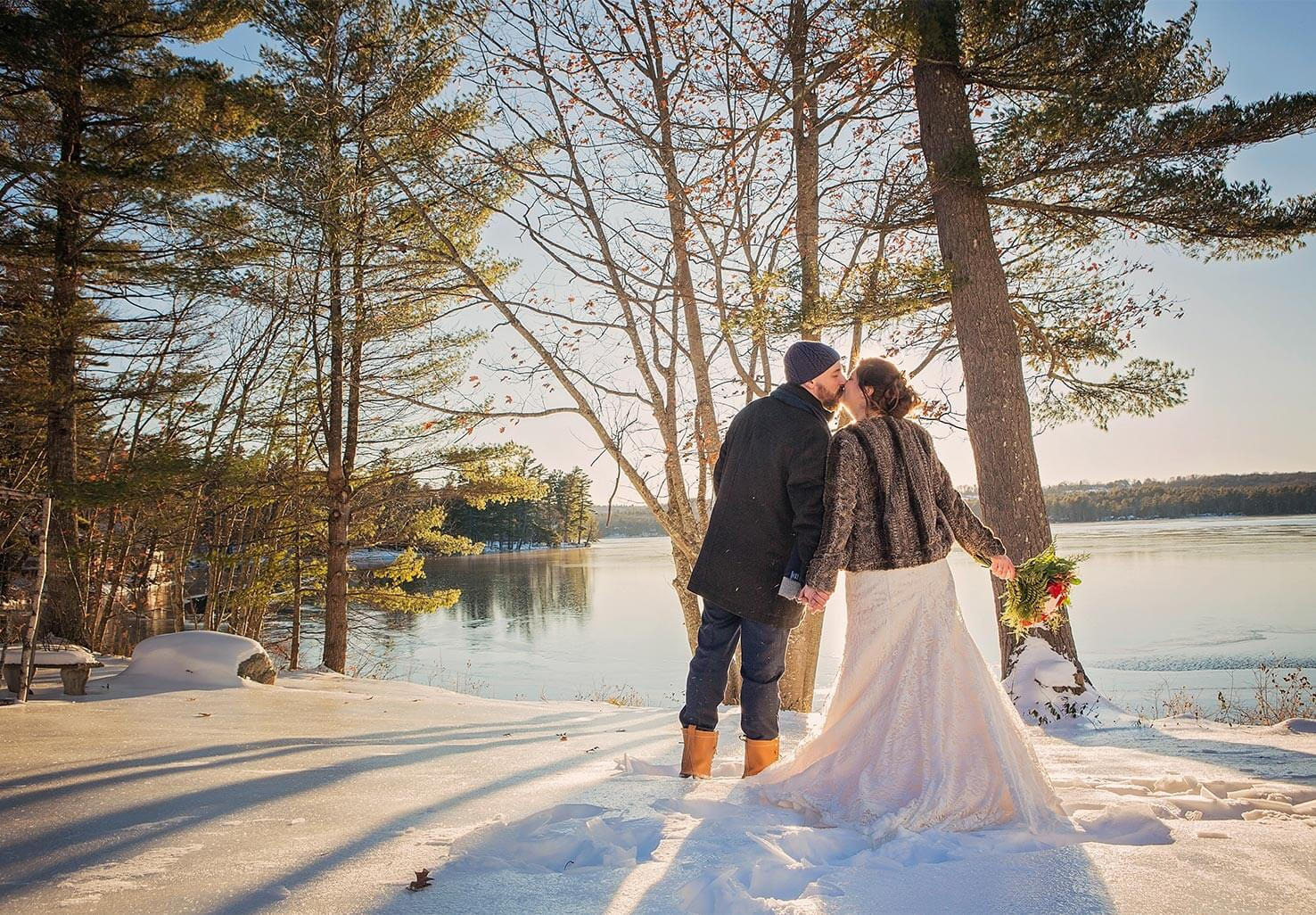 Wedding Kiss Lakeside in Winter