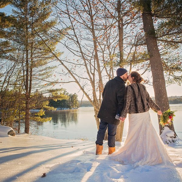 Wedding Couple lakeside in winter