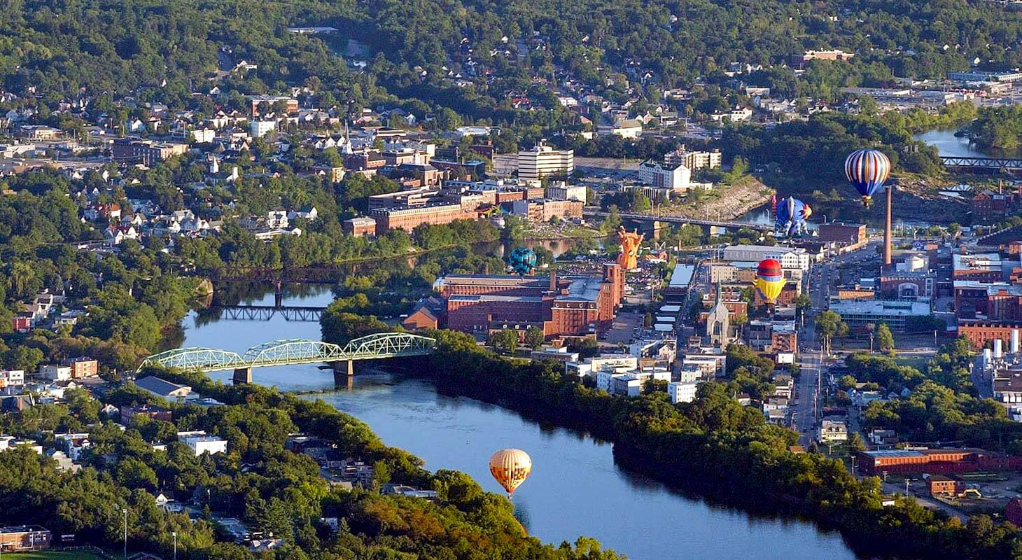 Lewiston Maine aerial photo during balloon festival