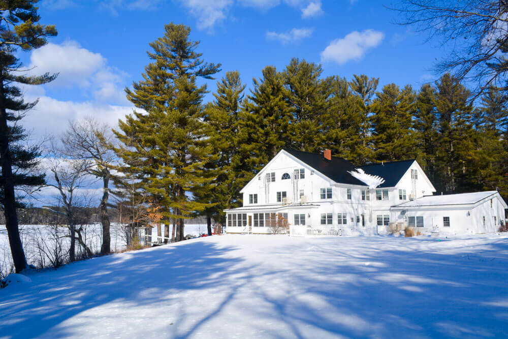 Winter photo of Wolf Cove Inn in Poland Maine