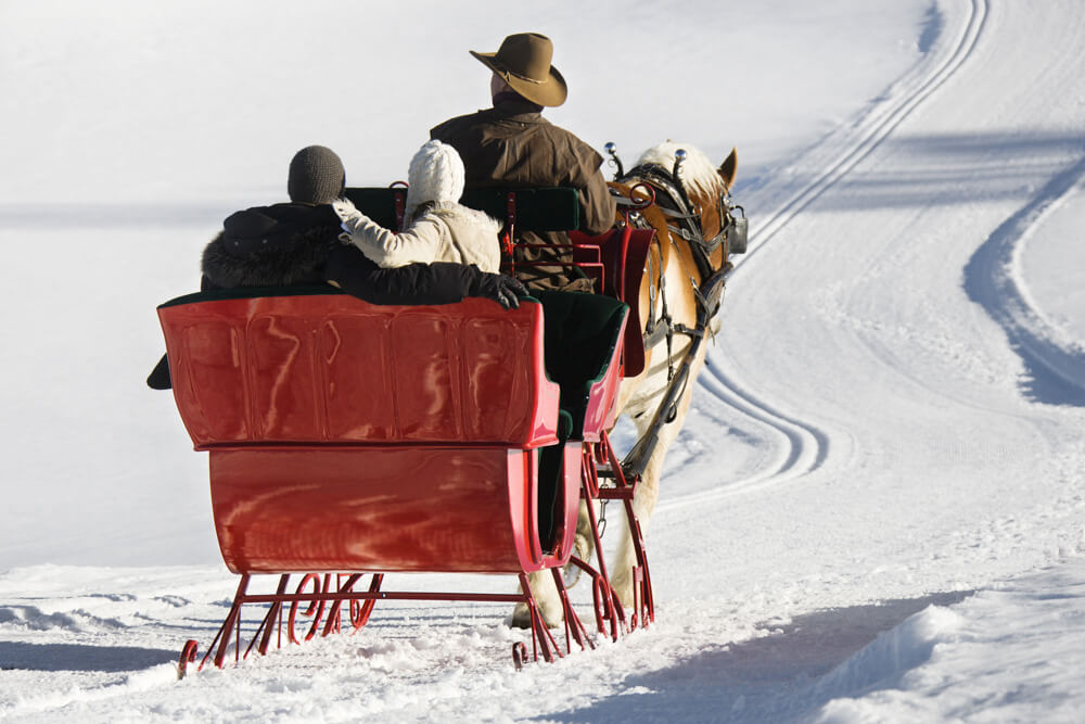 Red horse-drawn sleigh with couple in back and driver in front