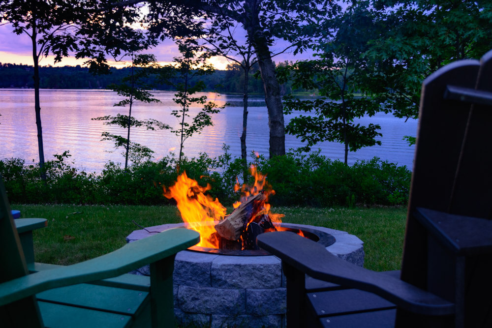 Fire Pit at sunset at Wolf Cove Inn for your Maine Honeymoon
