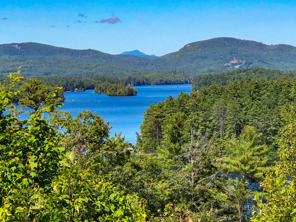Blue lake surround by green forests and mountains