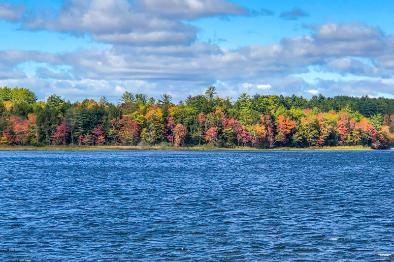 View of fall foliage on a Maine lake