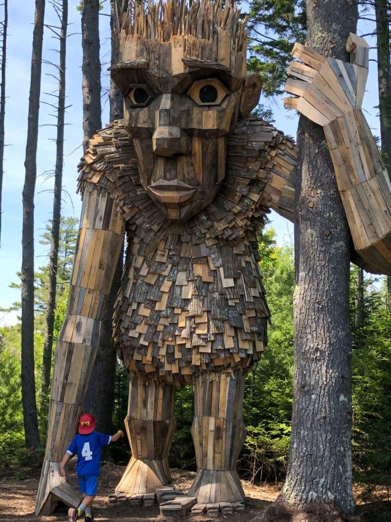 Giant wood troll as tall as a tree