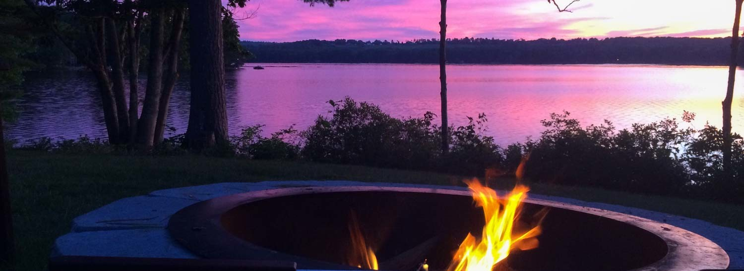Autumn Sunset By The Fire Pit at our Maine B&B