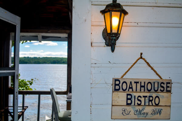 Romantic New England dining on a rustic houseboat