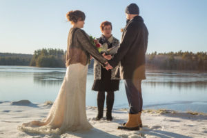 Winter Elopement Overlooking Tripp Lake in Maine