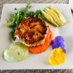 A delicious crab cake dinner at our Romantic Maine Bed and Breakfast