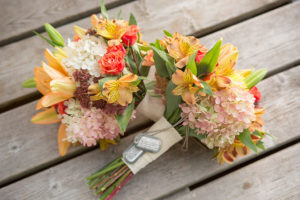Elopement bouquets with father's dog tags