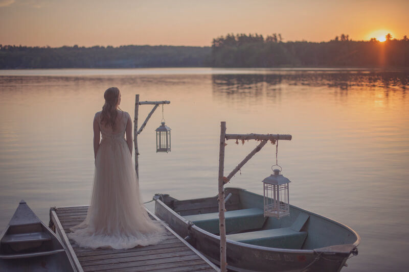 Elopement Bride On Dock At Sunset