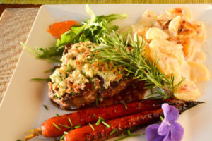 Romantic Maine Bed and Breakfast serving filet for dinner