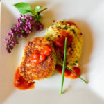 A delicious Fontina Risotto Cake at our Romantic Maine Bed and Breakfast