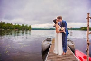Lakefront Maine Elopement - Couple on a Dock