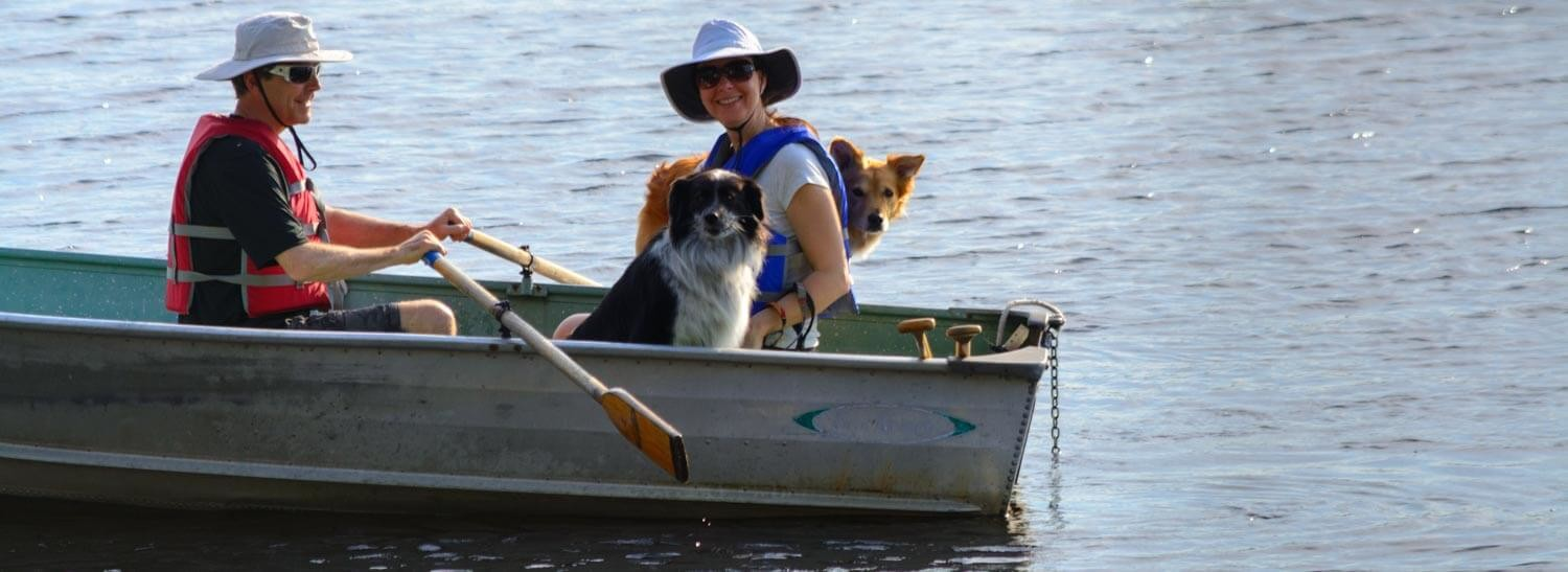 At Our Maine Pet Friendly Lodging, Dogs And Their Owners In Row Boat