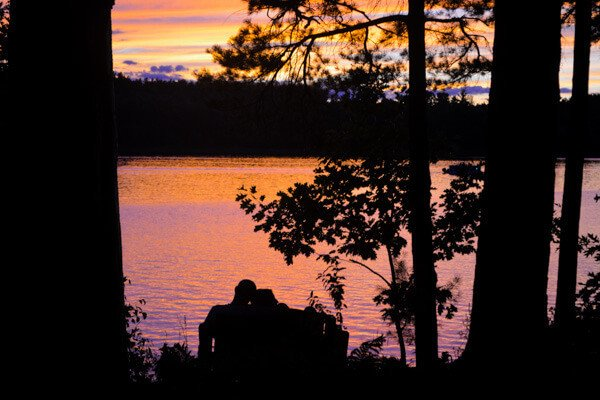 Romantic sunset over Tripp Lake