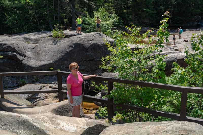 Sue enjoying the waterfalls in maine