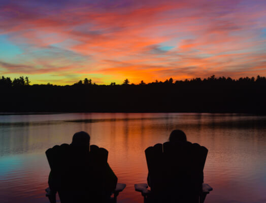 Beautiful sunset on Tripp Lake at our Maine bed and breakfast