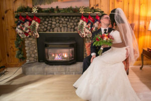 Maine Indoor Winter Wedding Elopement by the Fire