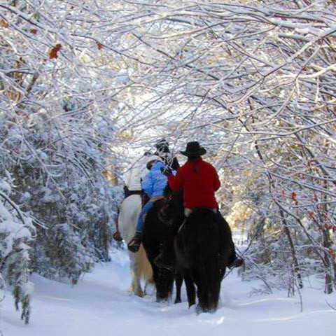 Horseback Riding through the snow at Carousel Horse Farm