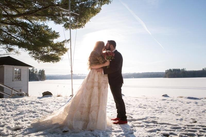 Lakeside Winter Intimate Wedding And Cocktail Reception Couple