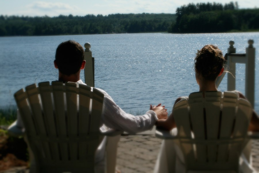 marries couple by lake