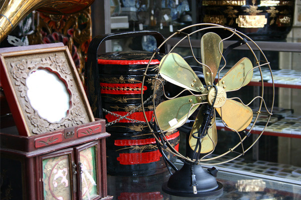 Antique fan and collectibles at flea market